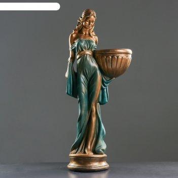 Фигурное кашпо девушка в платье бронза голубой-зеленый  87см