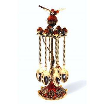 Набор ложек чайных стрекоза с янтарем