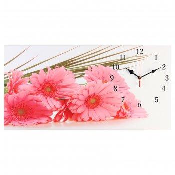Часы настенные, серия: цветы, на холсте розовые герберы, 40х76  см, микс