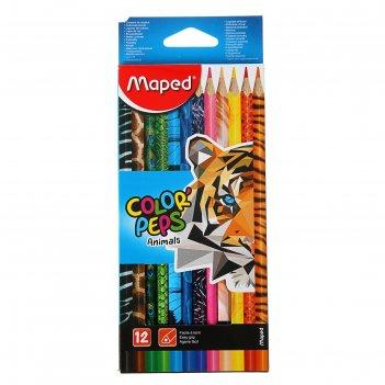 Карандаши 12 цветов maped color peps animals, трёхгранные