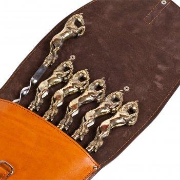 Шампуры подарочные 6 шт. в колчане из натуральной кожи