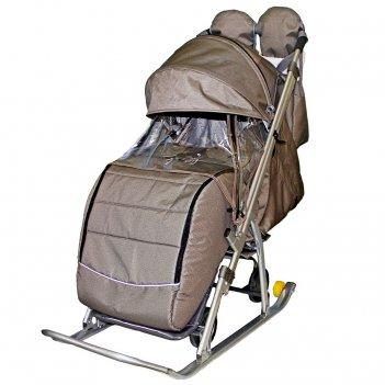 Санки-коляска snow galaxy kids-3-2-с бронза на больших колесах+сумка+вареж