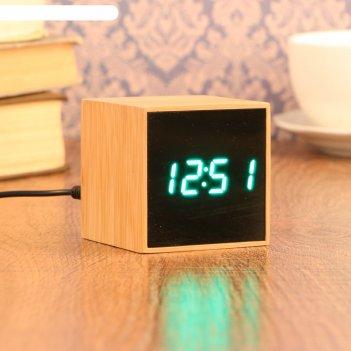 Часы-будильник электронные, с подсветкой, дата, зелёные цифры, батарея 3аа