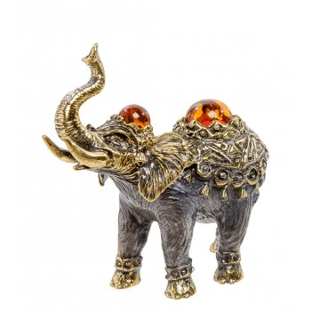 Am-2186 фигурка слон камбоджа (латунь, янтарь)
