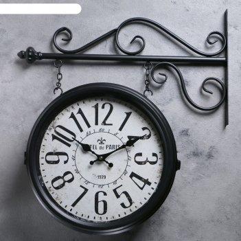 Двойные настенные часы, подвес цепочка, d=32см, цвет черный, 55*50см
