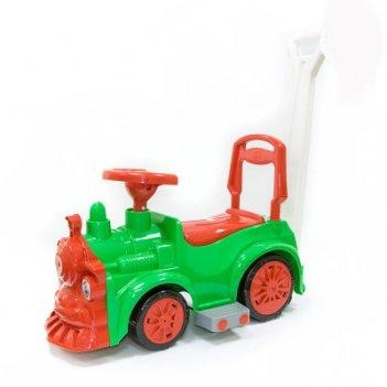 Ор778 каталка-машинка паровозик orion с ручкой, зелёный