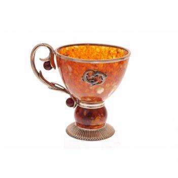 Чашка саламандра из янтаря и серебра