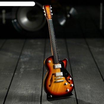 Гитара сувенирная gibson es чёрно-жёлтая, на подставке 24х8х2 см