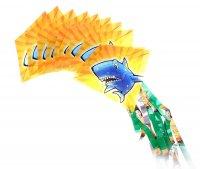 Воздушный змей рыба 10 пластинок на нитке и леска