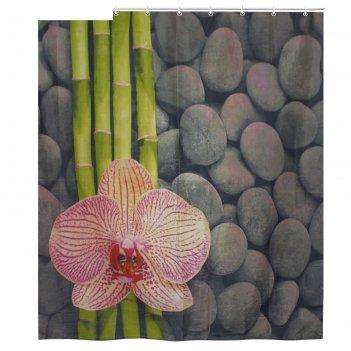 Штора для ванной 180х180 см орхидея и бамбук, полиэстер