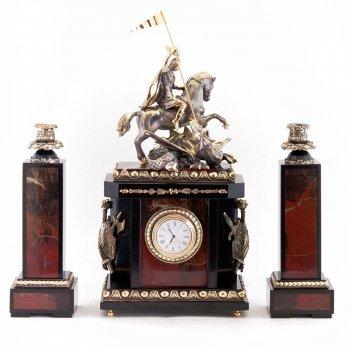 Каминные часы с подсвечниками георгий победоносец яшма