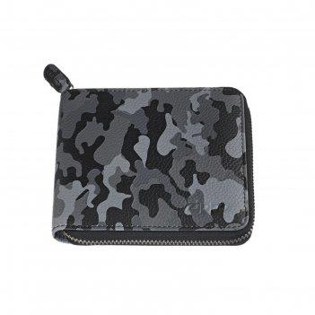 Кошелёк zippo, серо-чёрный камуфляж, натуральная кожа, 12x2x10,5 см