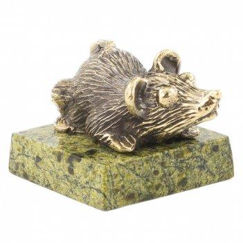 Статуэтка крыса пучеглазая змеевик бронза 40х35х30 мм 95 гр.