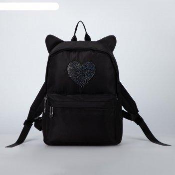 Рюкзак, отдел на молнии, наружный карман, 2 боковых кармана, цвет чёрный