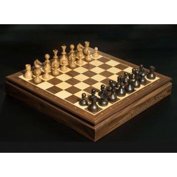 Шахматы стародворянские орех, король 8см, доска ларец 44х44см