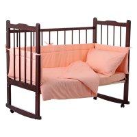 Комплект в кроватку 4 предмета горошки персиковый 10403
