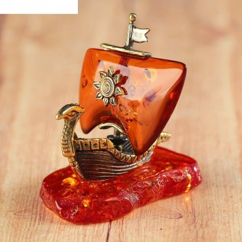 Сувенир из латуни и янтаря ладья