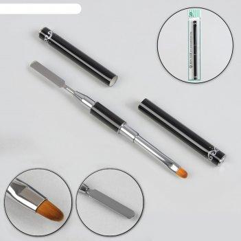 Шабер-кисть для наращивания ногтей, полуовальная, 14 см, голова 6 x 9 мм,