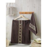Набор для сауны мужской (килт, полотенце 50х90 см), цвет шоколадный
