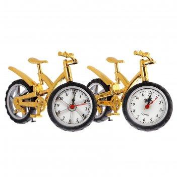 Будильник. серия транспорт. велосипед с широкими шинами, золото 15*25см
