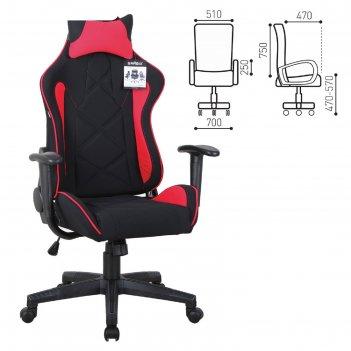 Кресло компьютерное brabix gt racer gm-101, подушка, ткань, черное/красное