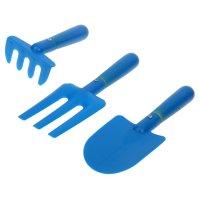 Набор садового инструмента для детей, 3 предмета, 19 см, голубой пластик