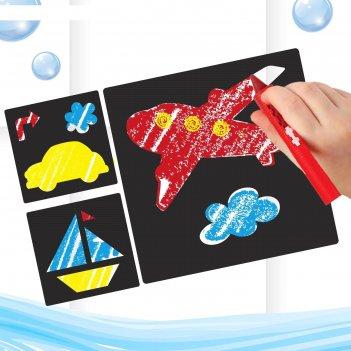 Мелки для рисования в ванной транспорт, набор: мелки 3 шт., трафареты 3 шт