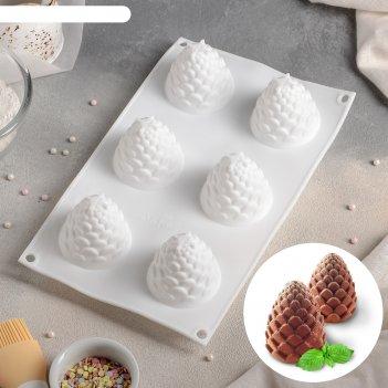 Форма для выпечки и муссовых десертов, 6 ячеек, 27х16,8х7 см шишка, цвет б