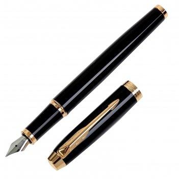 Ручка перьевая parker im core black gt, корпус чёрный глянцевый/ золотой,