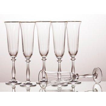 Набор бокалов для шампанского из 6 шт.анжела оптик 190 мл.высота=25 см.