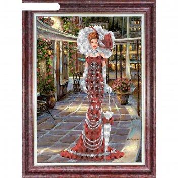 Набор для вышивки бисером «дама в красном»
