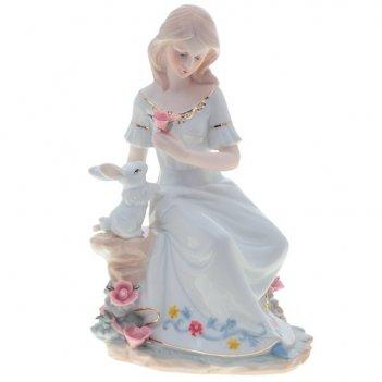 Фигурка декоративная девушка с кроликом, l16 w14 h25 см