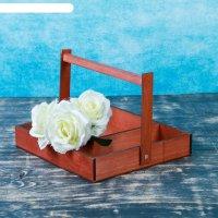 Ящик с ручкой для цветов и макарун, коричневый,  с ручкой, 25х23х4,5см
