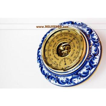 Барометр подарочный гжель с позолотой (фарфор)