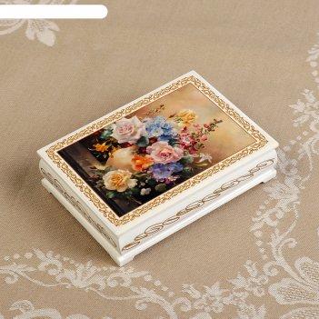 Шкатулка «букет цветов в вазе», белая, 10x14 см, лаковая миниатюра