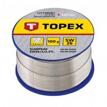 Припой оловянный topex 44e514, 60% олово, 40% свинец, проволока 1.0 мм, 10