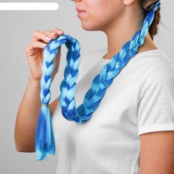 Коса на резинке 80 см, цвет голубой