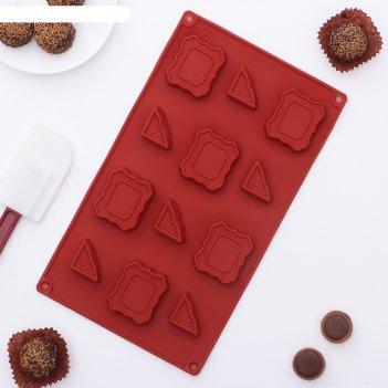 Форма для льда и шоколада таблички с вензелями, 12 ячеек