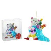 Фигурка стекло мишка с подарками 11,3*12,5*3,6 см