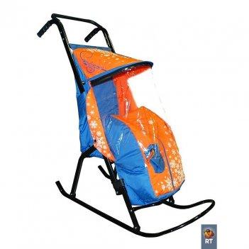 Санки-коляска снегурочка-2-р1снежинки голуб-оран