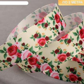 Лента репсовая «розы», 25 мм, 2 ± 0,1 м, разноцветная