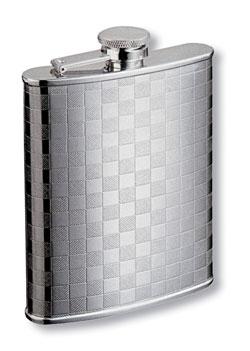Фляга s.quire 0,24 л, сталь, серебристый цвет с рисунком