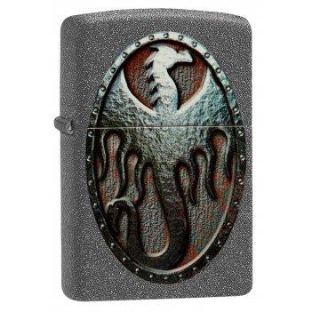Зажигалка zippo metal dragon shield design с покрытием iron stone™, латунь