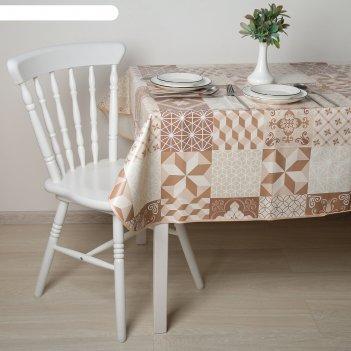 Скатерть с бейкой 135х180(+/-5) см стиль. геометрия, цвет коричневый