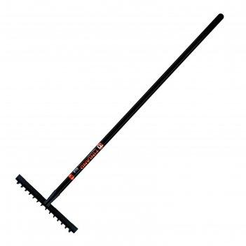 Грабли прямые, 14 зубцов, металл, с черенком, finland 1705-ч