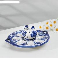 Подставка для яиц с ручками курочка, гжель, фарфор, d=23 см