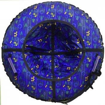 Тюбинг 75 см (маленькие) сердца и полоски на синем, дно голубое