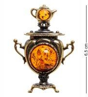 Am-1841 магнит самовар (латунь, янтарь)