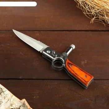 Нож перочинный с кнопкой, рукоять с кольцом, лезвие прямое+фонарик 16см (л
