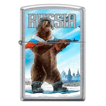 Зажигалка zippo русский медведь с покрытием street chrome™, латунь/сталь,
